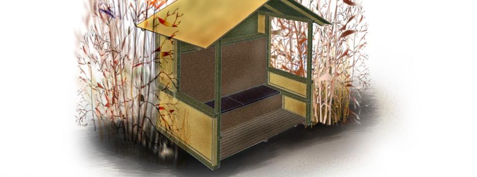 Entwurfsansicht für das Bankhaus aus Holz für den Garten - dieser läßt sich je nach Kundenwunsch erweitern
