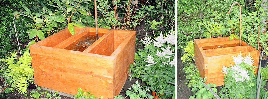 Pflanzkübel Blumenkübel aus Holz für den Garten mit Wasserbecken - kleiner Brunnen