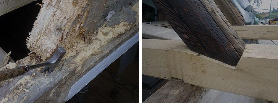 Knotenpunkt-alter-Raehm-neuer-Deckenbalken-aufgearbeitetes-Altholz