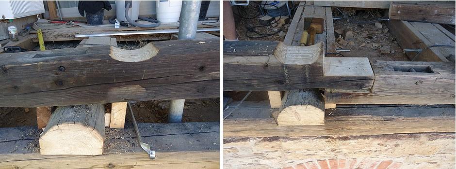 Konstruktionspunkt - Schwelle-Deckenbalken-Stoß-Blatt