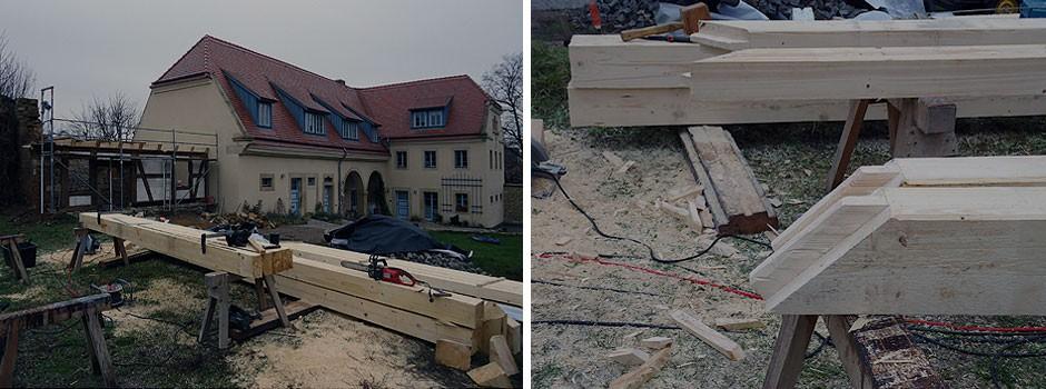 Abbund des neuen Sparrendaches für das Nebengebäude
