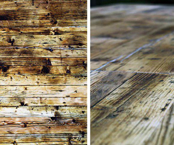 Upcycling: alte Gerüstbohlen zu einer Tischplatte verwandelt