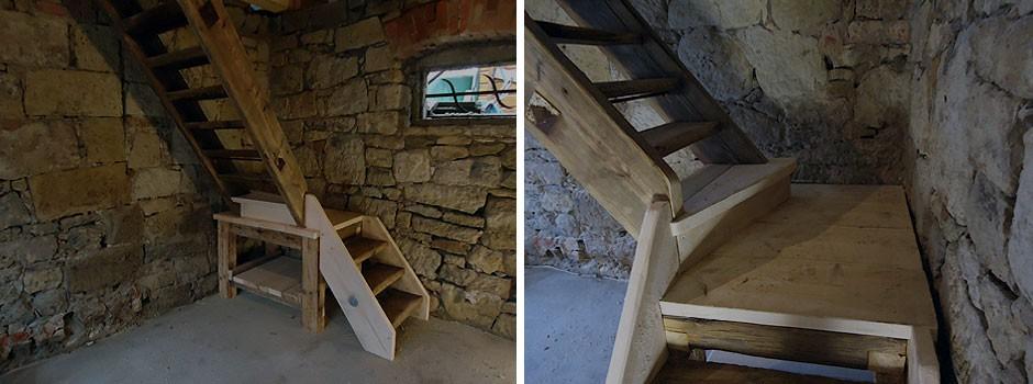 aufgearbeiteter alter Treppenlauf, Demontage, kürzen der Trittstufen, Montage