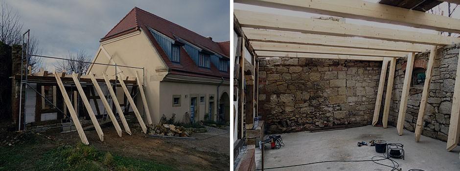 Beginn mit dem Aufbau des kleinen Sparrendaches