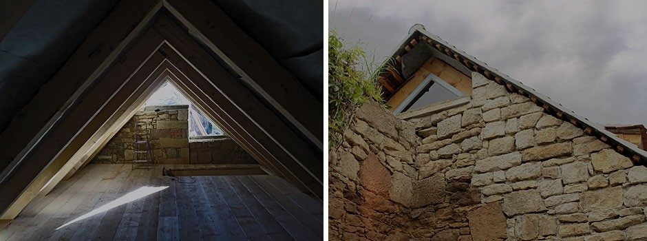 Details---gemörtelte Ortgänge und gestrahltes Mauerwerk
