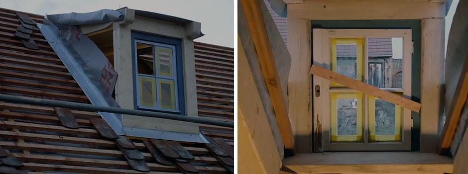 die Verwendung der alten aufgearbeiteten Fenster gibt die Gaubengröße vor