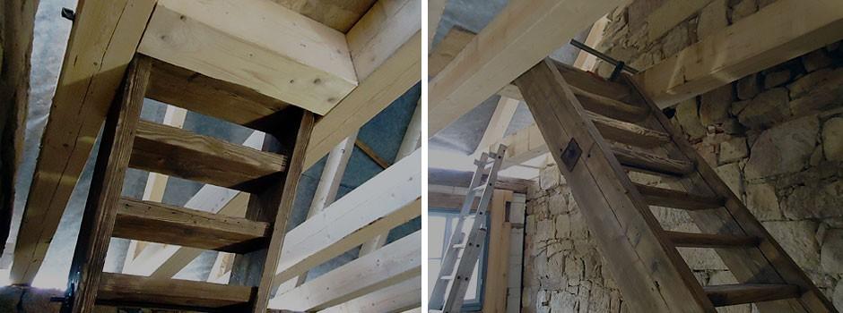 Einbau des alten Treppenlaufes
