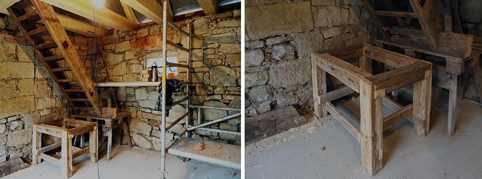 Einbau des überarbeiteten Treppenlaufes