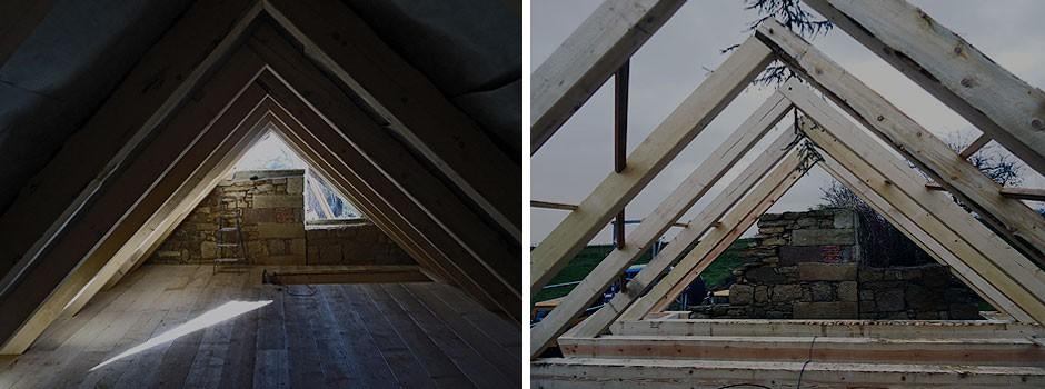 Holzbohlen als Fussbodendielung---passende Haptik zum massiven Mauerwerk