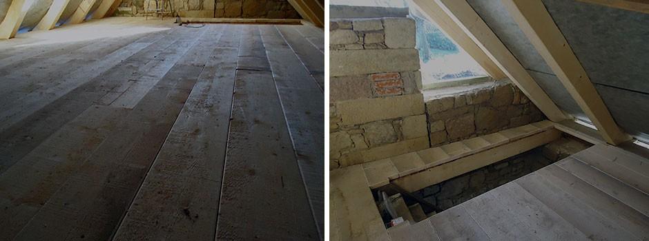 Holzfußboden und Treppenauge
