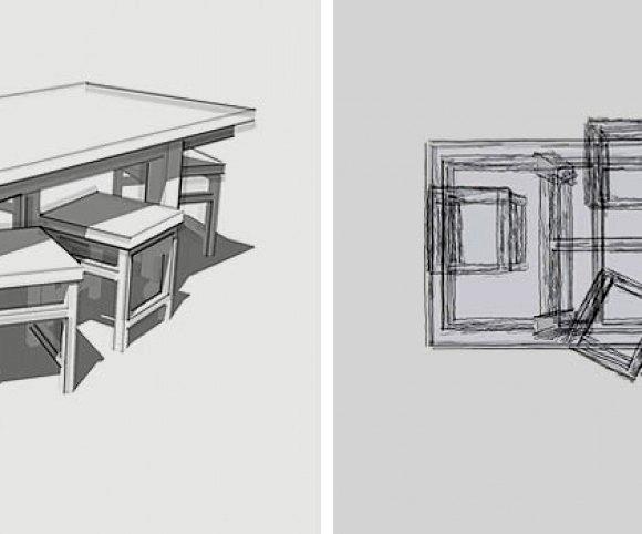 Entwurf: Tisch-42, mit lenkbaren Industrierollen