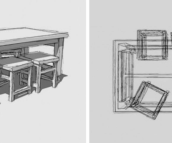 Entwurf: Tisch-60 mit Industrierollen