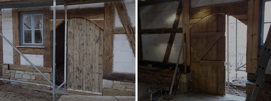 Verwendung alter Dielenbretter für die Tür
