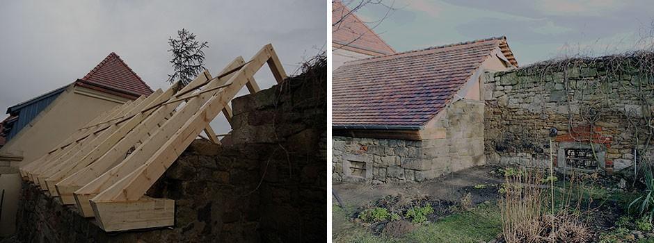 die rückwärtige Seite sowie der Giebel bestehen aus alten ruinösem Mauerwerk